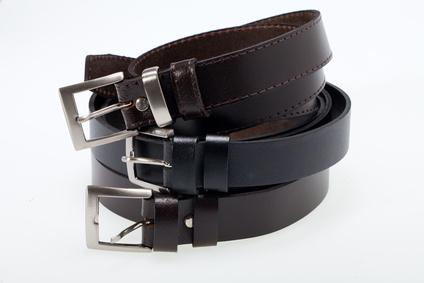 Men black belt isolated on white.